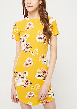 Dark Yellow Floral Print Short Sleeve T Shirt Dress
