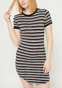 Black Striped T Shirt Dress