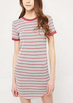 Heather Grey Striped T Shirt Dress