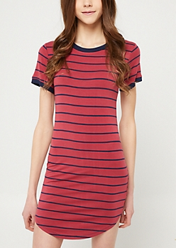 Burgundy Striped T Shirt Dress