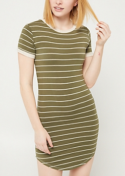Olive Striped T Shirt Dress