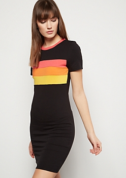 Black Striped Ringer T Shirt Dress