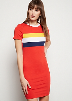 Red Striped Ringer T Shirt Dress
