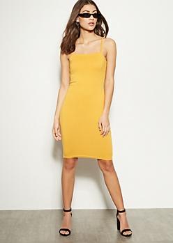 Mustard Square Neck Midi Bodycon Dress
