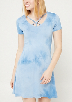 Light Blue Wash Y Strap Swing Dress