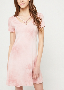 Medium Pink Wash Y Strap Swing Dress