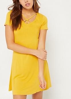 Mustard Y Strap Swing Dress