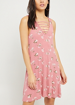 Pink Floral Print Caged V Neck Swing Dress