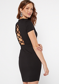 Black Open Back Lace Up Bodycon Dress