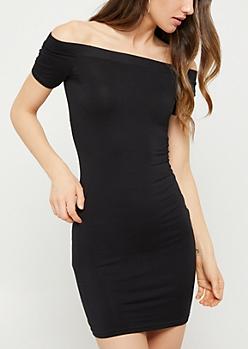 Black Off Shoulder Bodycon Dress