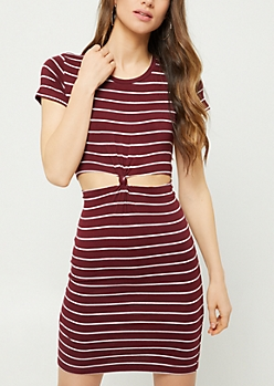 Burgundy Striped Knotted Cutout T Shirt Dress