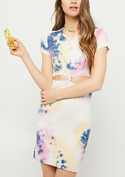 Tie Dye Print Knotted Cutout T Shirt Dress