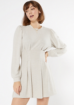 Oatmeal Heather Hacci Knit Mini Dress