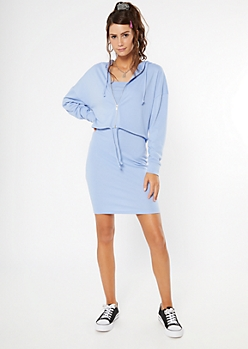 Blue Hoodie And Sleeveless Bodycon Dress Two-Piece Set