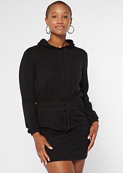 Black Cinched Waist Hoodie Dress