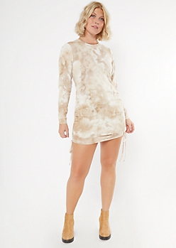 Beige Tie Dye Ruched Side Sweatshirt Dress