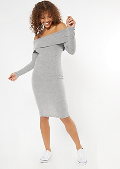 Gray Off The Shoulder Ribbed Knit Midi Dress