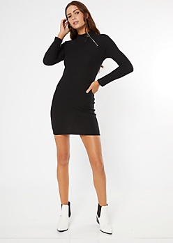 Black Zip Ribbed Knit Bodycon Dress