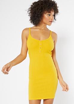Mustard Henley Button Ribbed Bodycon Dress