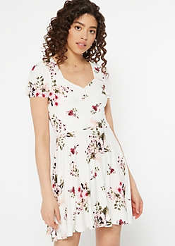 Ivory Floral Print Sweetheart Neckline Dress