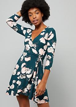 Green Floral Print Surplice Wrap Dress