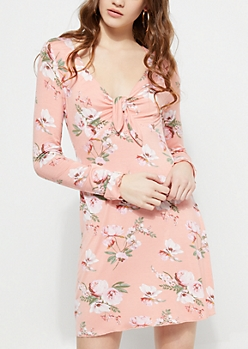Pink Floral Knotted Front Dress