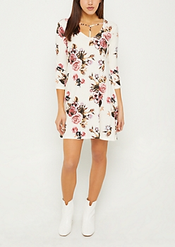 Ivory Y-Strap Floral Swing Dress