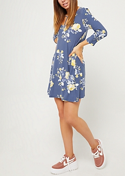 Navy Y-Strap Floral Swing Dress