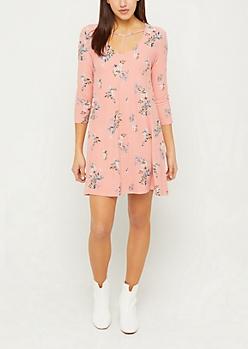 Light Pink Y-Strap Floral Swing Dress