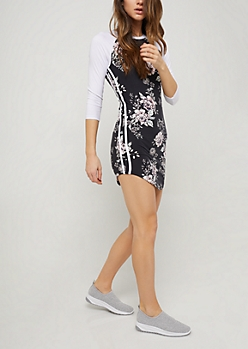 Black Floral Raglan Sleeve Varsity Dress