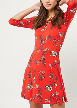 Red Floral Lattice Skater Dress