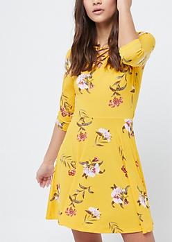 Mustard Floral Lattice Skater Dress