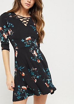 Black Floral Lattice Skater Dress