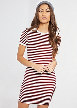 Burgundy Stripe Ringer Dress