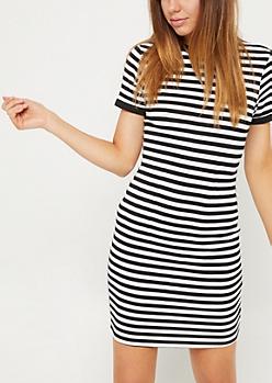 Black Stripe Ringer Dress