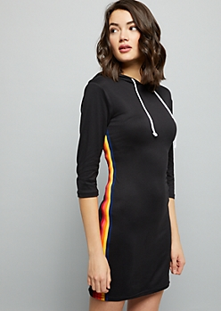 Black Rainbow Striped Super Soft Hooded Mini Dress
