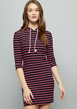 Navy Striped Super Soft Hooded Mini Dress