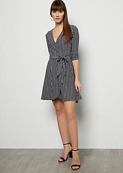 Black Striped Super Soft Mini Wrap Dress