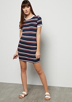 Navy Striped Ringer Mini Dress