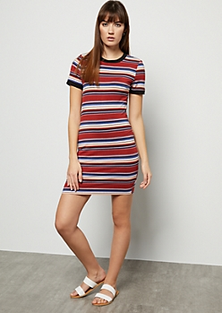 Burnt Orange Striped Ringer Mini Dress