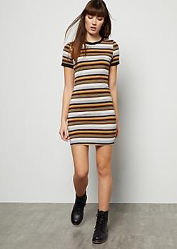 Black Striped Ringer Mini Dress