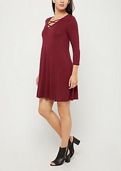 Burgundy Lattice Yoke Swing Dress