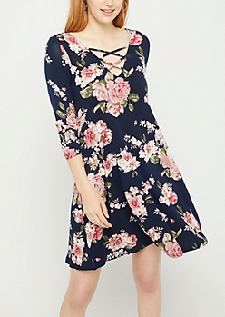 Navy Floral Lattice Yoke Swing Dress