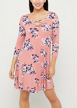 Pink Floral Lattice Yoke Swing Dress