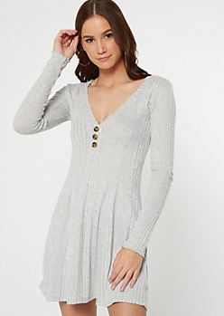 Gray Button V Neck Ribbed Knit Dress