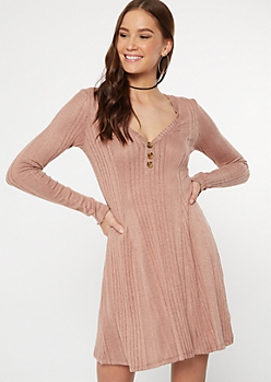 Pink Button V Neck Ribbed Knit Dress