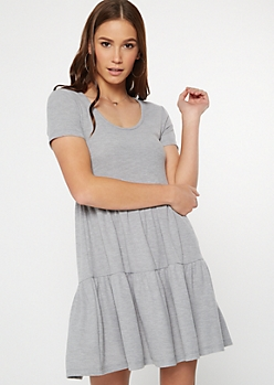 Gray Tiered Babydoll Dress