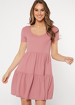 Pink Tiered Babydoll Dress