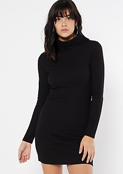 Black Turtleneck Long Sleeve Bodycon Dress