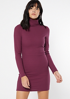 Purple Turtleneck Fitted Midi Dress